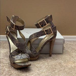 High heeled snakeskin sandals